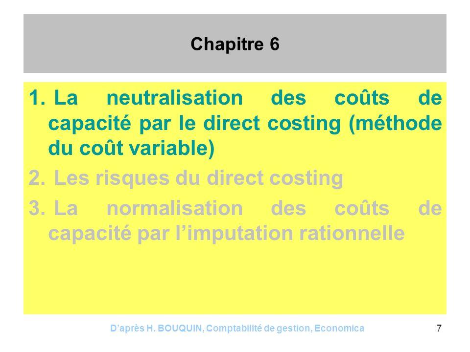 Daprès H. BOUQUIN, Comptabilité de gestion, Economica7 Chapitre 6 1. La neutralisation des coûts de capacité par le direct costing (méthode du coût va