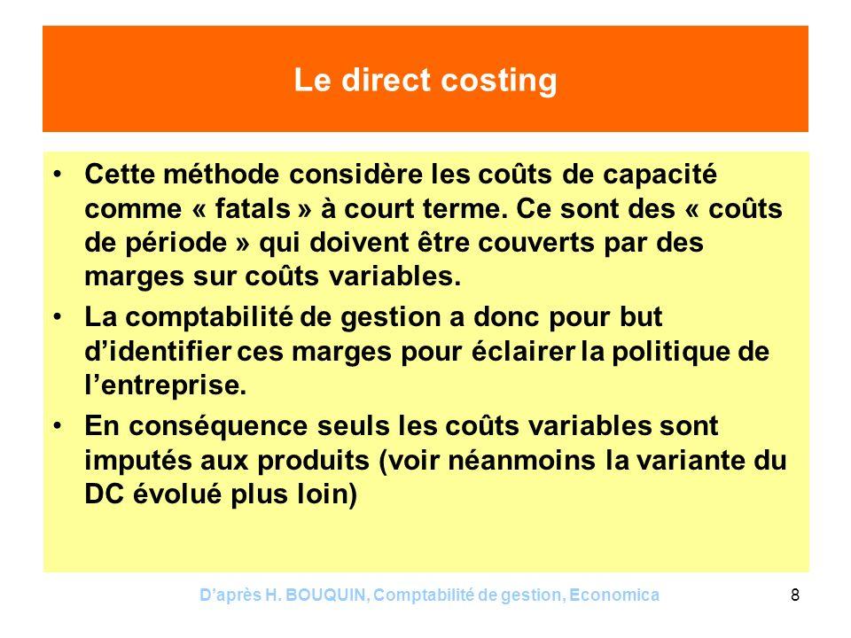 Daprès H. BOUQUIN, Comptabilité de gestion, Economica8 Le direct costing Cette méthode considère les coûts de capacité comme « fatals » à court terme.
