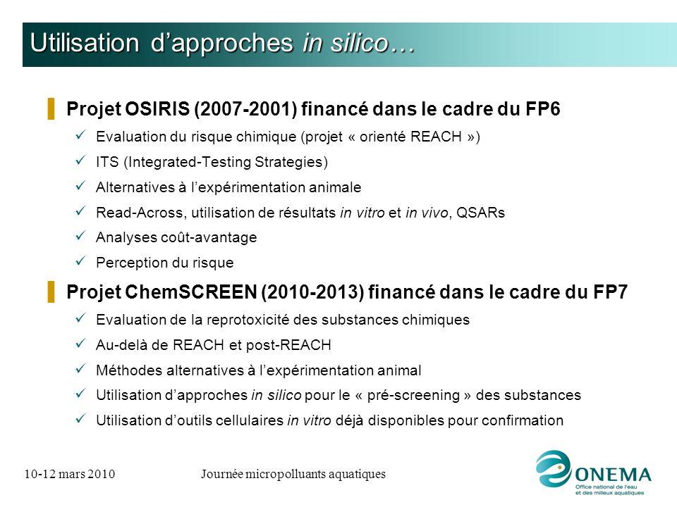 10-12 mars 2010Journée micropolluants aquatiques Utilisation dapproches in silico… Projet OSIRIS (2007-2001) financé dans le cadre du FP6 Evaluation d