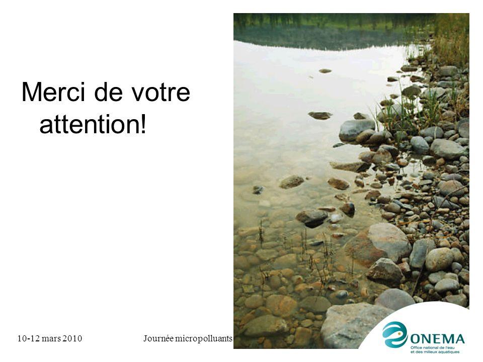 10-12 mars 2010Journée micropolluants aquatiques Merci de votre attention!
