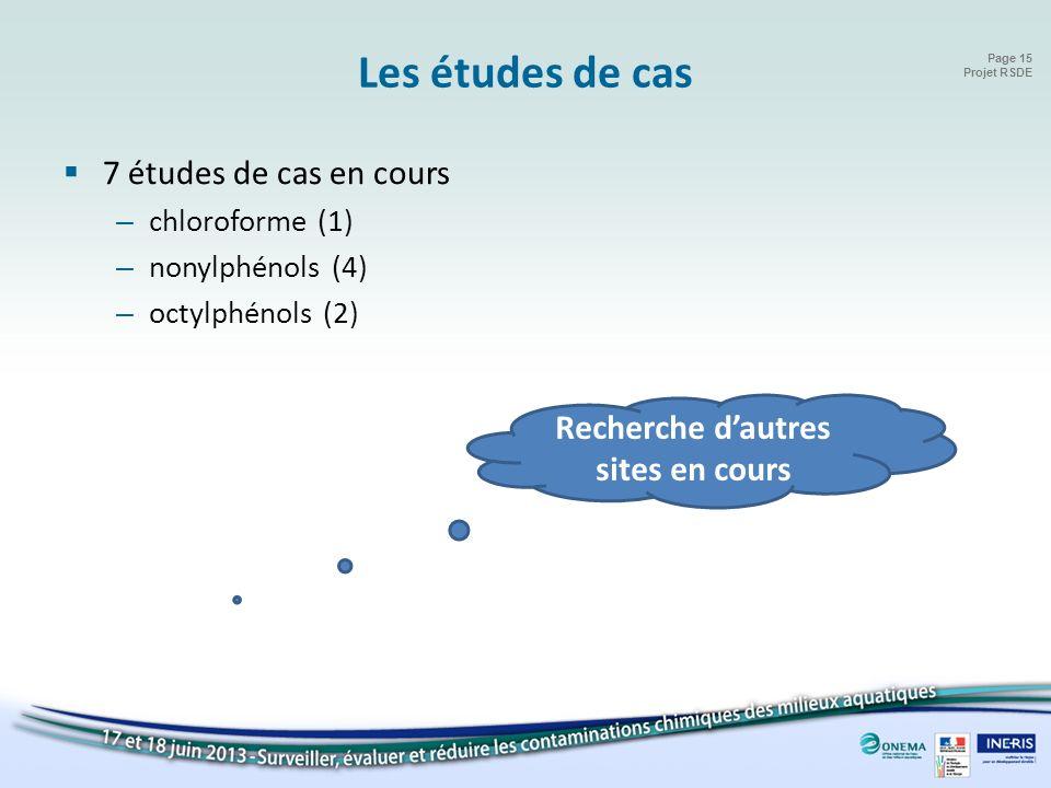 Page 15 Projet RSDE Les études de cas 7 études de cas en cours – chloroforme (1) – nonylphénols (4) – octylphénols (2) Recherche dautres sites en cour
