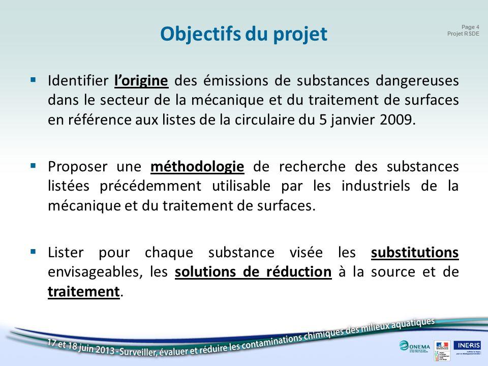 Page 4 Projet RSDE Objectifs du projet Identifier lorigine des émissions de substances dangereuses dans le secteur de la mécanique et du traitement de