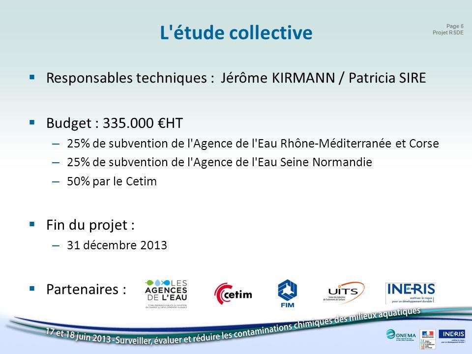 Page 6 Projet RSDE L'étude collective Responsables techniques : Jérôme KIRMANN / Patricia SIRE Budget : 335.000 HT – 25% de subvention de l'Agence de