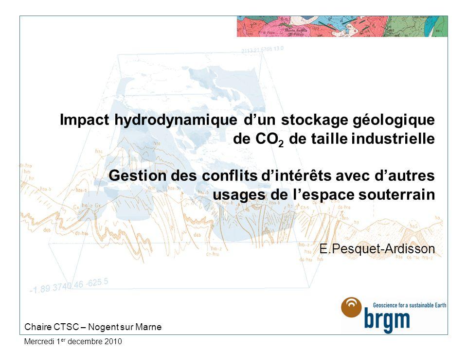Mercredi 1 er decembre 2010 Impact hydrodynamique dun stockage géologique de CO 2 de taille industrielle Gestion des conflits dintérêts avec dautres u