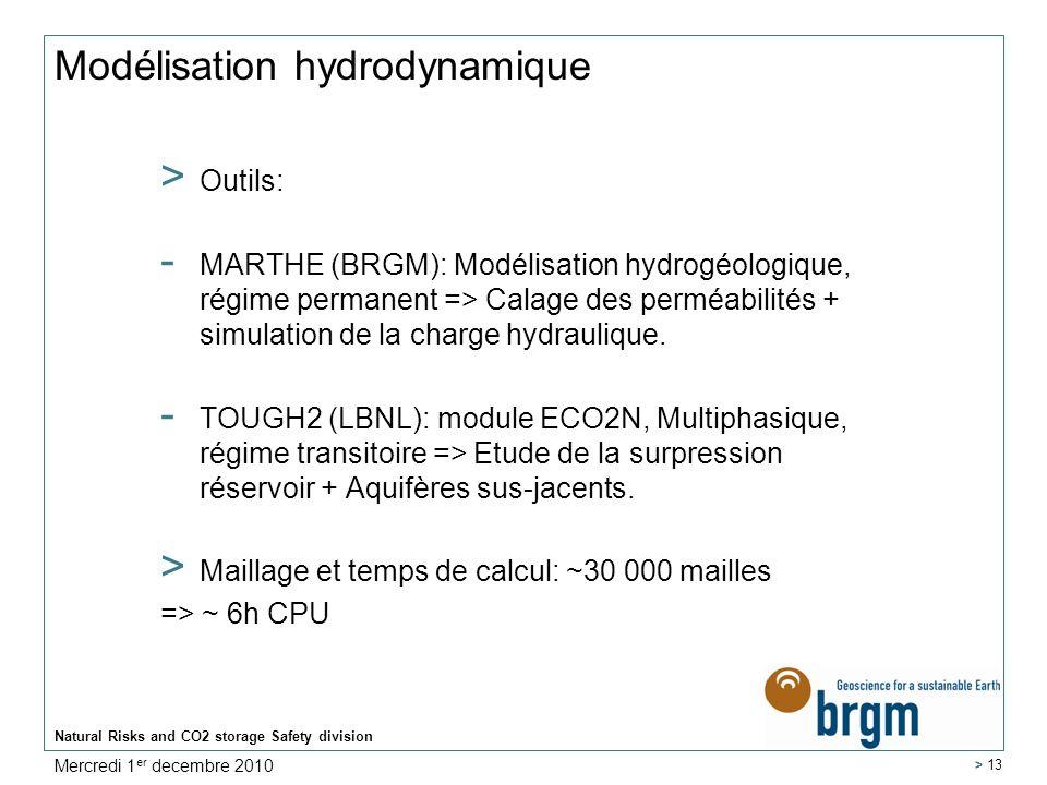 Natural Risks and CO2 storage Safety division > 13 Modélisation hydrodynamique > Outils: - MARTHE (BRGM): Modélisation hydrogéologique, régime permane
