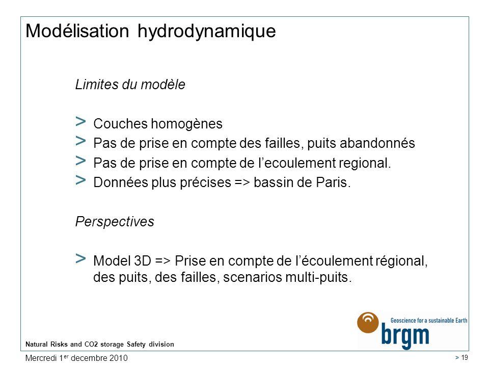 Natural Risks and CO2 storage Safety division > 19 Modélisation hydrodynamique Limites du modèle > Couches homogènes > Pas de prise en compte des fail