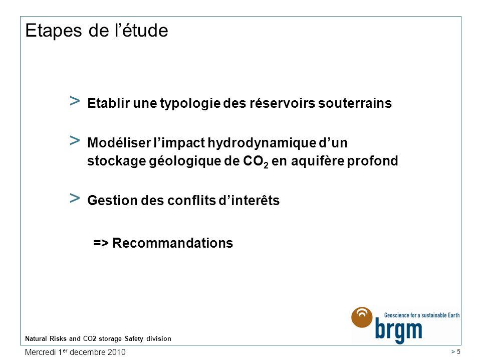 Typologie des reservoirs souterrains Natural Risks and CO2 storage Safety division > 6 Mercredi 1 er decembre 2010