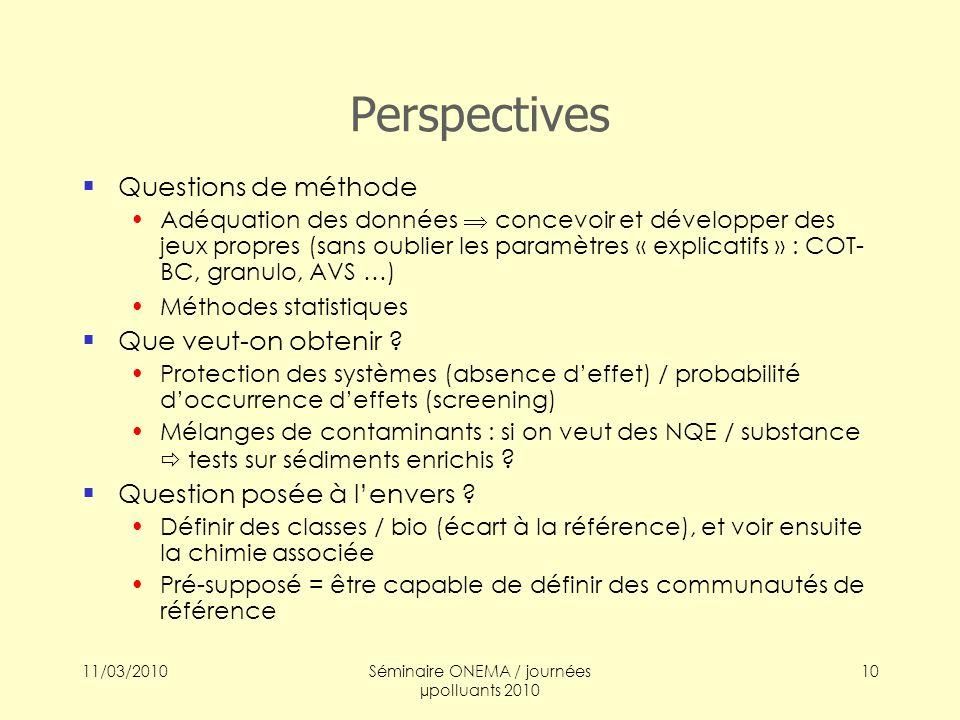 11/03/2010Séminaire ONEMA / journées µpolluants 2010 10 Perspectives Questions de méthode Adéquation des données concevoir et développer des jeux prop