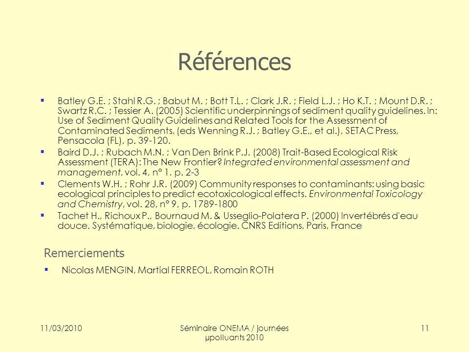 11/03/2010Séminaire ONEMA / journées µpolluants 2010 11 Références Batley G.E. ; Stahl R.G. ; Babut M. ; Bott T.L. ; Clark J.R. ; Field L.J. ; Ho K.T.