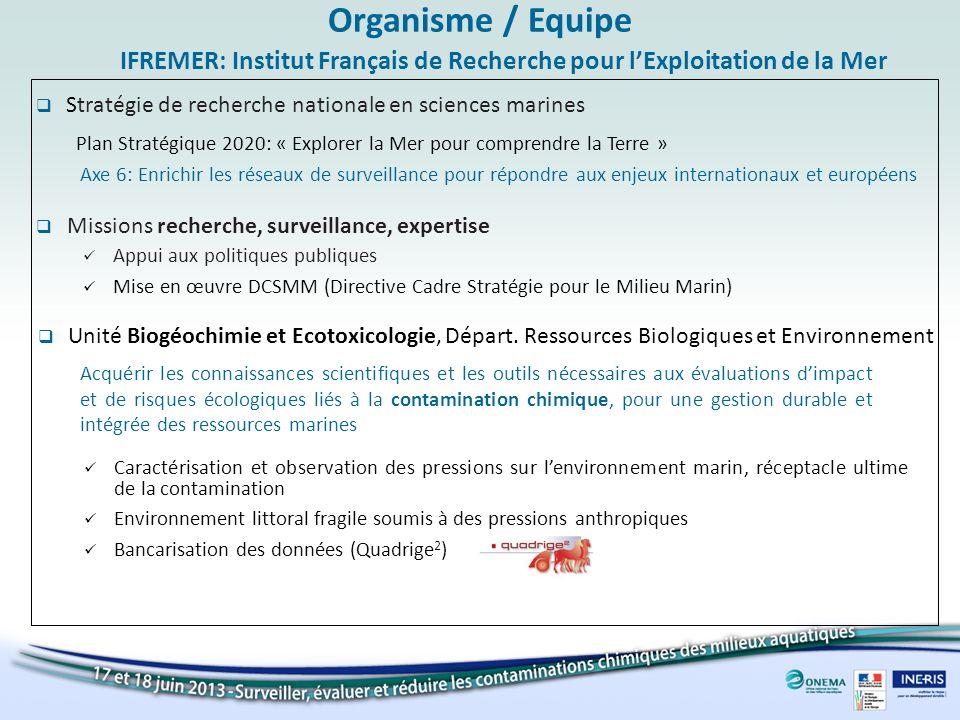Organisme / Equipe Stratégie de recherche nationale en sciences marines IFREMER: Institut Français de Recherche pour lExploitation de la Mer Axe 6: En