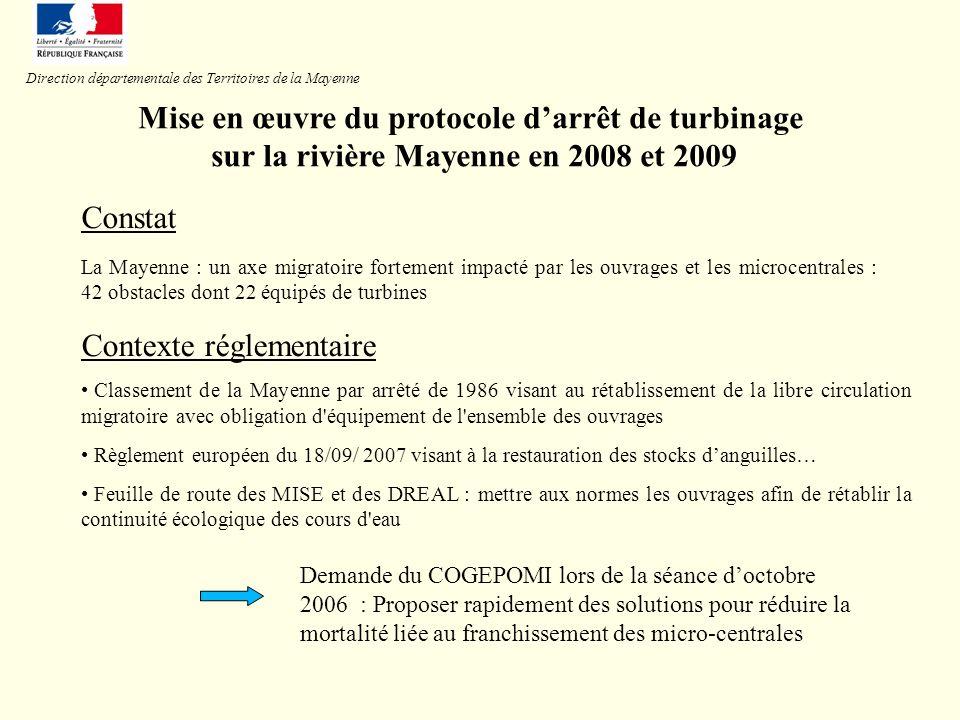 Mise en œuvre du protocole darrêt de turbinage sur la rivière Mayenne en 2008 et 2009 Contexte réglementaire Classement de la Mayenne par arrêté de 19