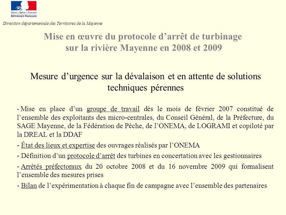 Mesure durgence sur la dévalaison et en attente de solutions techniques pérennes - Mise en place dun groupe de travail dès le mois de février 2007 con