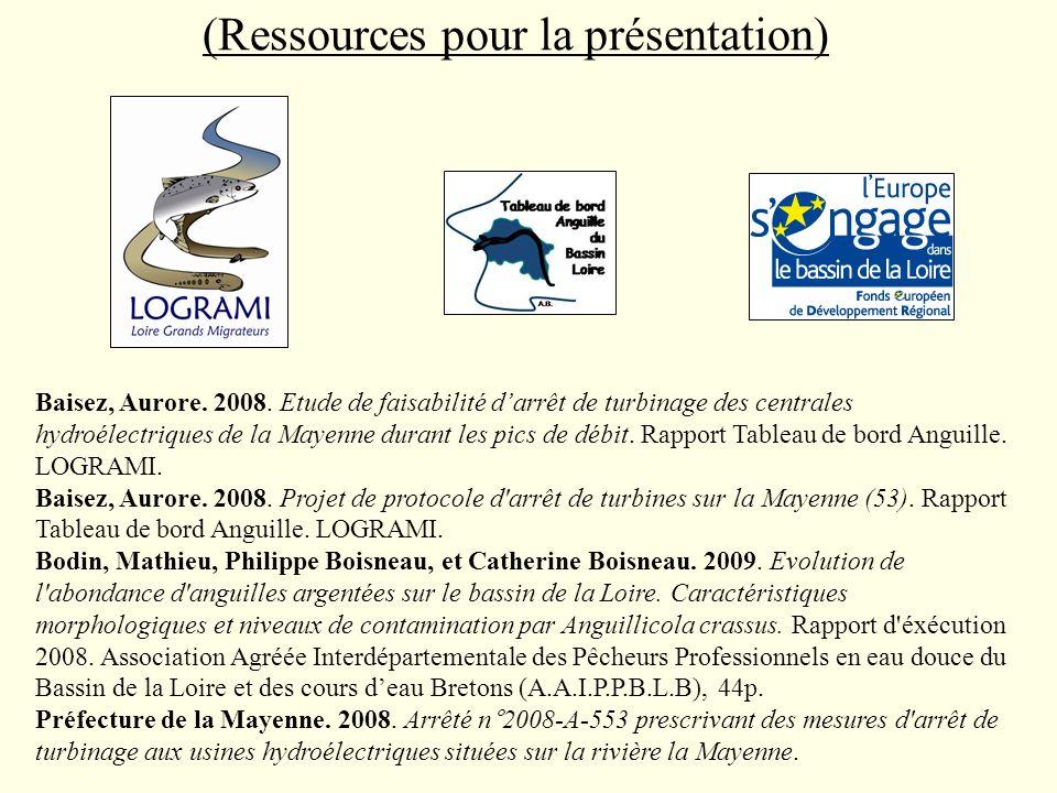 (Ressources pour la présentation) Baisez, Aurore. 2008. Etude de faisabilité darrêt de turbinage des centrales hydroélectriques de la Mayenne durant l