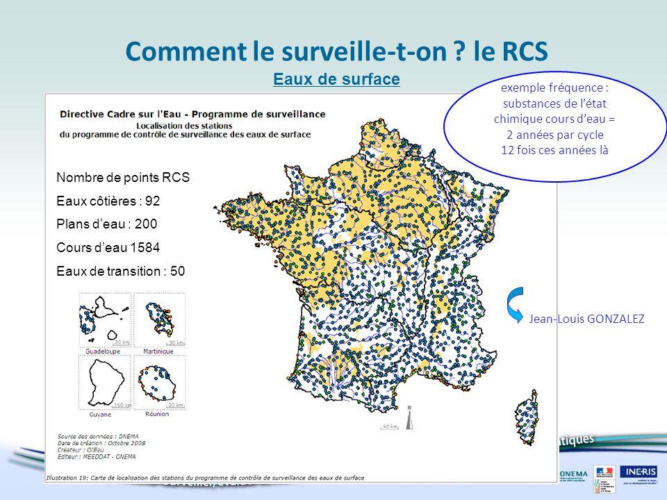 Comment le surveille-t-on ? le RCS Eaux de surface exemple fréquence : substances de létat chimique cours deau = 2 années par cycle 12 fois ces années