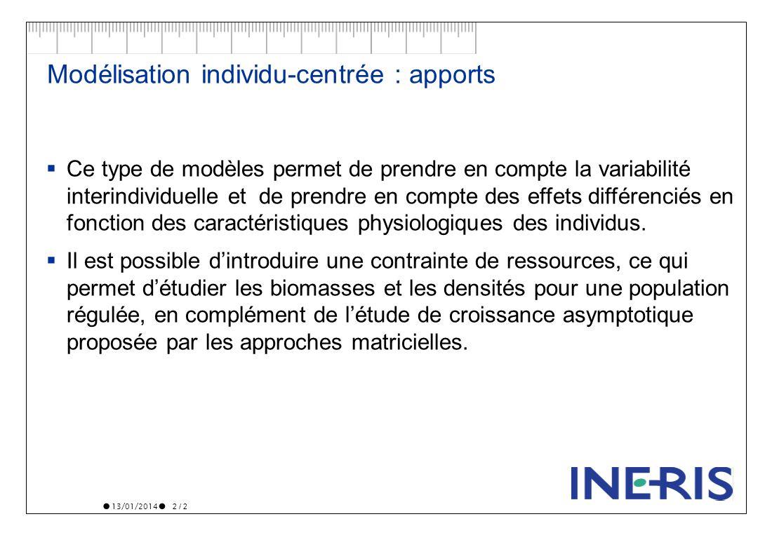13/01/2014 2 / 2 Modélisation individu-centrée : apports Ce type de modèles permet de prendre en compte la variabilité interindividuelle et de prendre