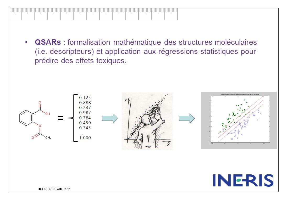 13/01/2014 2 / 2 QSARs : formalisation mathématique des structures moléculaires (i.e. descripteurs) et application aux régressions statistiques pour p