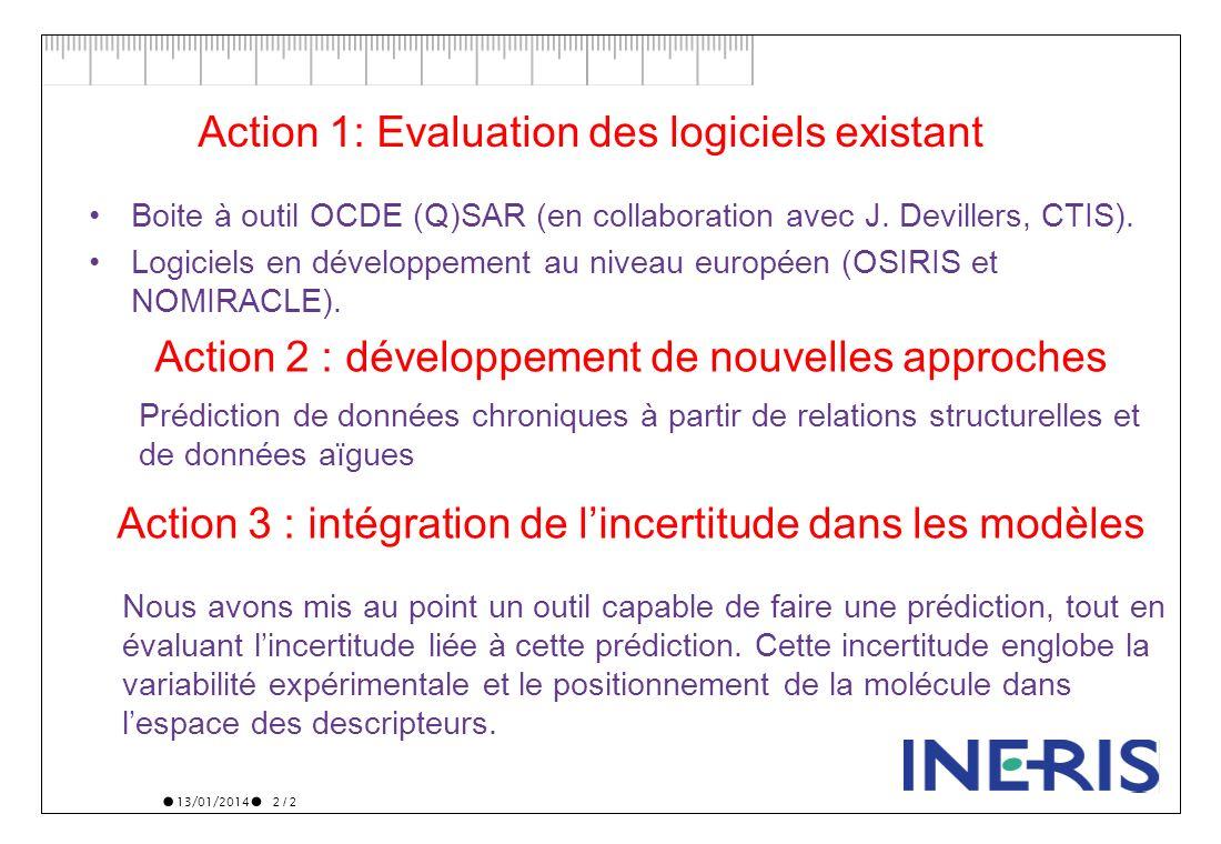 13/01/2014 2 / 2 Action 1: Evaluation des logiciels existant Boite à outil OCDE (Q)SAR (en collaboration avec J. Devillers, CTIS). Logiciels en dévelo