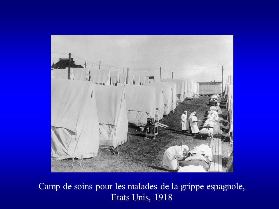 Camp de soins pour les malades de la grippe espagnole, Etats Unis, 1918
