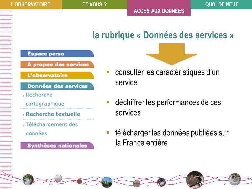 consulter les caractéristiques dun service déchiffrer les performances de ces services télécharger les données publiées sur la France entière la rubrique « Données des services » LOBSERVATOIREET VOUS ?QUOI DE NEUF ACCES AUX DONNÉES