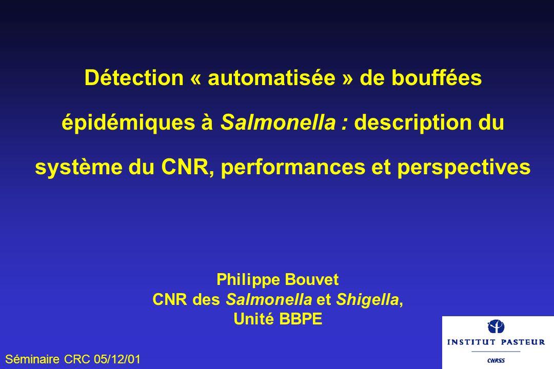 Séminaire CRC 05/12/01 Détection « automatisée » de bouffées épidémiques à Salmonella : description du système du CNR, performances et perspectives Ph