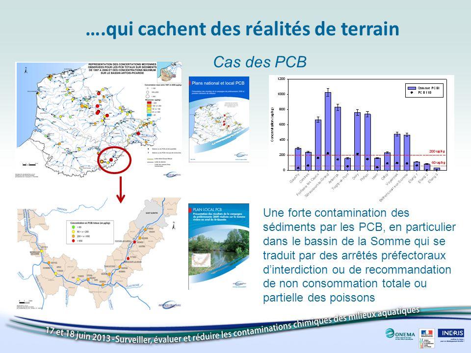 ….qui cachent des réalités de terrain Une forte contamination des sédiments par les PCB, en particulier dans le bassin de la Somme qui se traduit par