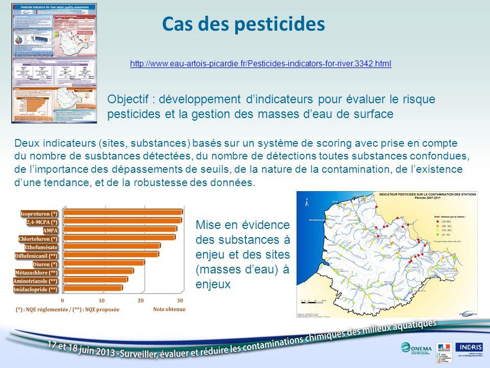 Cas des pesticides http://www.eau-artois-picardie.fr/Pesticides-indicators-for-river,3342.html Objectif : développement dindicateurs pour évaluer le r