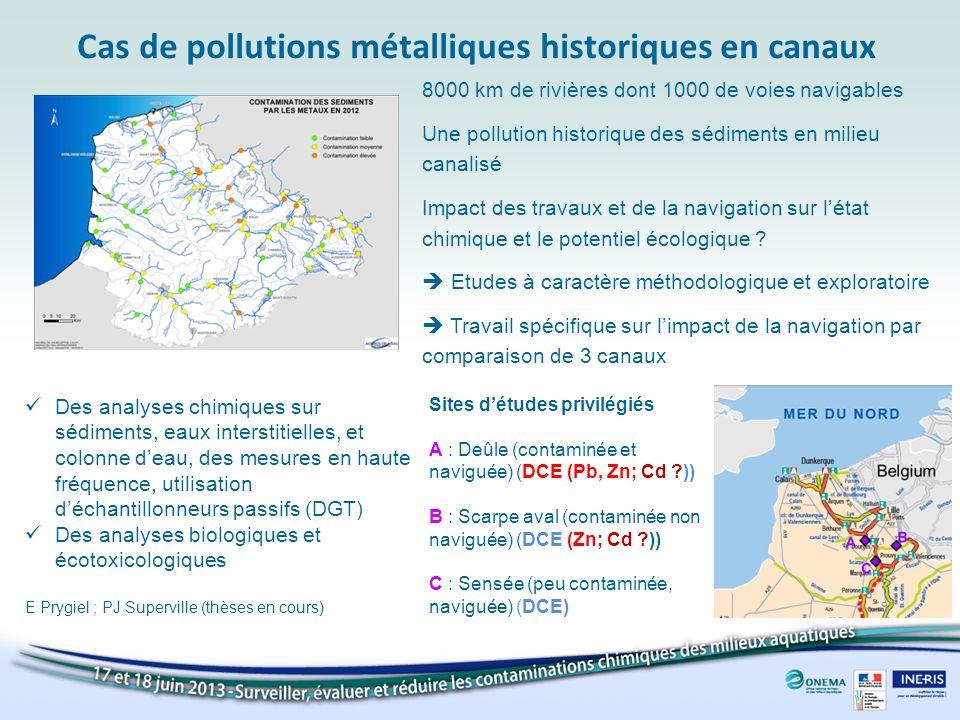 Cas de pollutions métalliques historiques en canaux 8000 km de rivières dont 1000 de voies navigables Une pollution historique des sédiments en milieu