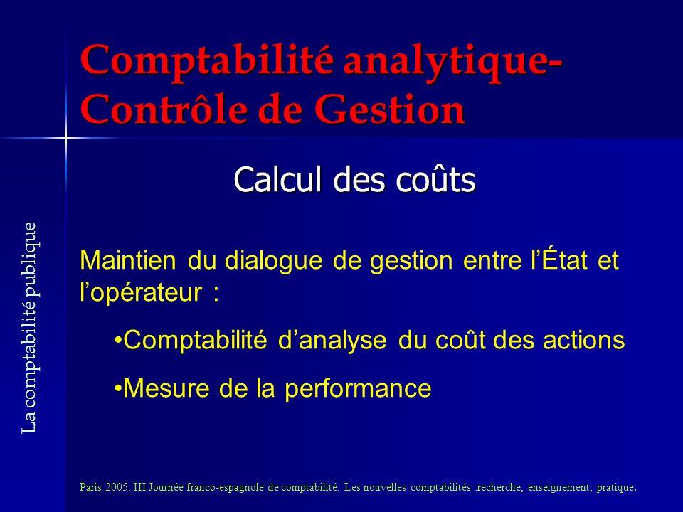 Comptabilité analytique- Contrôle de Gestion Calcul des coûts Maintien du dialogue de gestion entre lÉtat et lopérateur : Comptabilité danalyse du coût des actions Mesure de la performance Paris 2005.