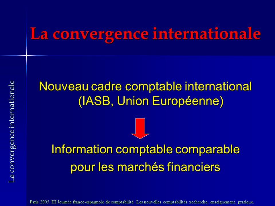 La convergence internationale Nouveau cadre comptable international (IASB, Union Européenne) Information comptable comparable pour les marchés financiers Paris 2005.