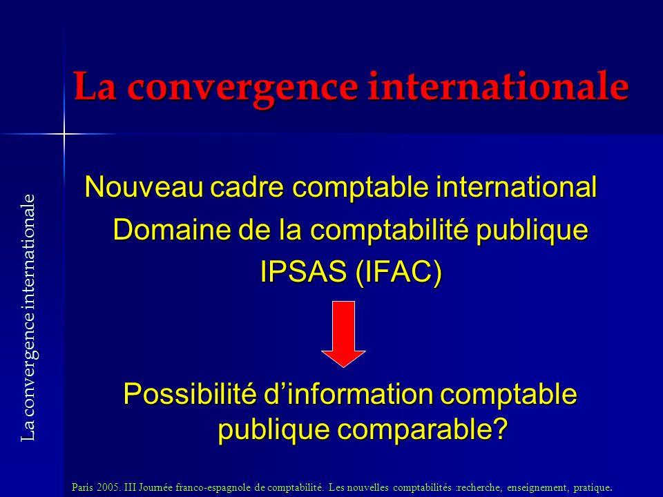 Nouveau cadre comptable international Domaine de la comptabilité publique IPSAS (IFAC) Possibilité dinformation comptable publique comparable.