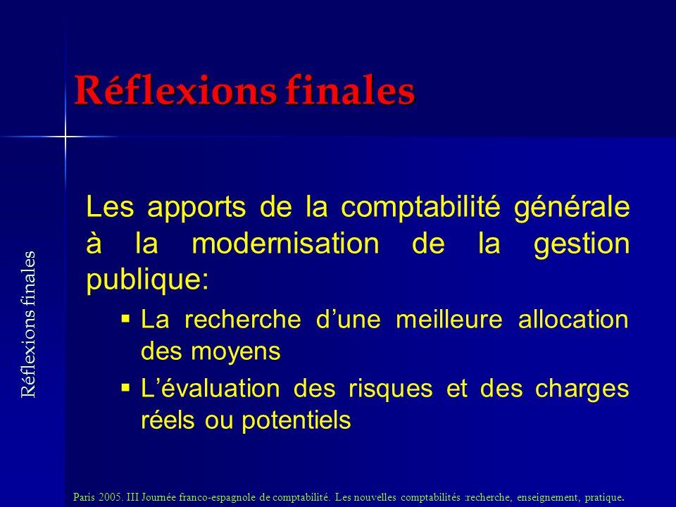 Les apports de la comptabilité générale à la modernisation de la gestion publique: La recherche dune meilleure allocation des moyens Lévaluation des risques et des charges réels ou potentiels Paris 2005.