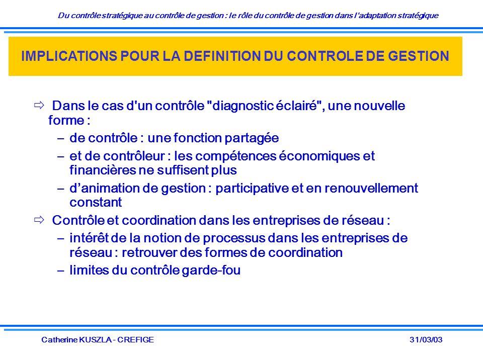 Du contrôle stratégique au contrôle de gestion : le rôle du contrôle de gestion dans ladaptation stratégique 31/03/03Catherine KUSZLA - CREFIGE Dans le cas d un contrôle diagnostic éclairé , une nouvelle forme : –de contrôle : une fonction partagée –et de contrôleur : les compétences économiques et financières ne suffisent plus –danimation de gestion : participative et en renouvellement constant Contrôle et coordination dans les entreprises de réseau : –intérêt de la notion de processus dans les entreprises de réseau : retrouver des formes de coordination –limites du contrôle garde-fou IMPLICATIONS POUR LA DEFINITION DU CONTROLE DE GESTION