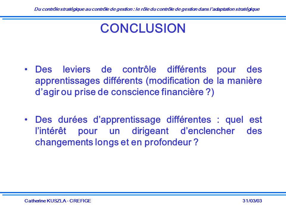 Du contrôle stratégique au contrôle de gestion : le rôle du contrôle de gestion dans ladaptation stratégique 31/03/03Catherine KUSZLA - CREFIGE CONCLU