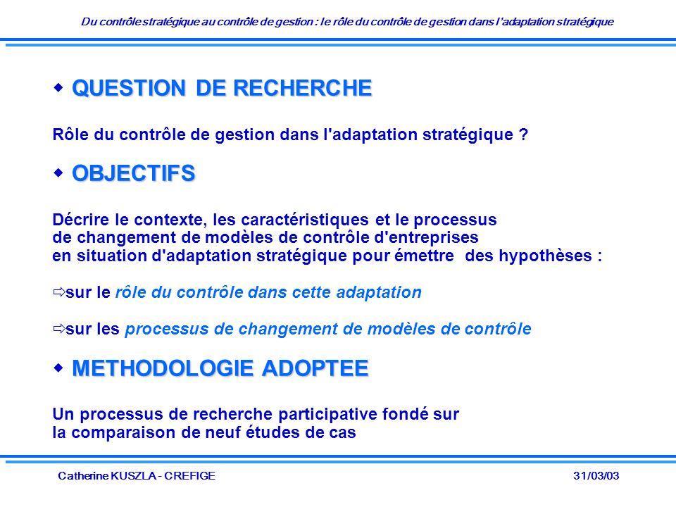 Du contrôle stratégique au contrôle de gestion : le rôle du contrôle de gestion dans ladaptation stratégique 31/03/03Catherine KUSZLA - CREFIGE QUESTI
