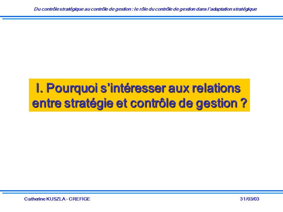Du contrôle stratégique au contrôle de gestion : le rôle du contrôle de gestion dans ladaptation stratégique 31/03/03Catherine KUSZLA - CREFIGE I. Pou