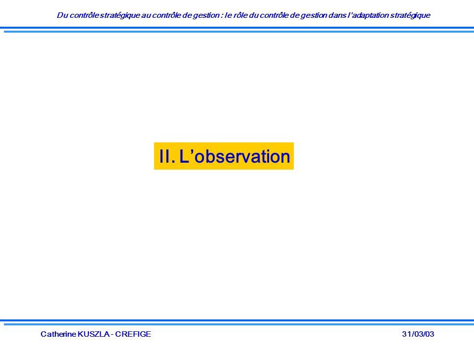 Du contrôle stratégique au contrôle de gestion : le rôle du contrôle de gestion dans ladaptation stratégique 31/03/03Catherine KUSZLA - CREFIGE II. Lo