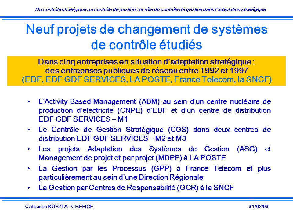 Du contrôle stratégique au contrôle de gestion : le rôle du contrôle de gestion dans ladaptation stratégique 31/03/03Catherine KUSZLA - CREFIGE Neuf projets de changement de systèmes de contrôle étudiés LActivity-Based-Management (ABM) au sein dun centre nucléaire de production délectricité (CNPE) dEDF et dun centre de distribution EDF GDF SERVICES – M1 Le Contrôle de Gestion Stratégique (CGS) dans deux centres de distribution EDF GDF SERVICES – M2 et M3 Les projets Adaptation des Systèmes de Gestion (ASG) et Management de projet et par projet (MDPP) à LA POSTE La Gestion par les Processus (GPP) à France Telecom et plus particulièrement au sein dune Direction Régionale La Gestion par Centres de Responsabilité (GCR) à la SNCF Dans cinq entreprises en situation dadaptation stratégique : des entreprises publiques de réseau entre 1992 et 1997 (EDF, EDF GDF SERVICES, LA POSTE, France Telecom, la SNCF)
