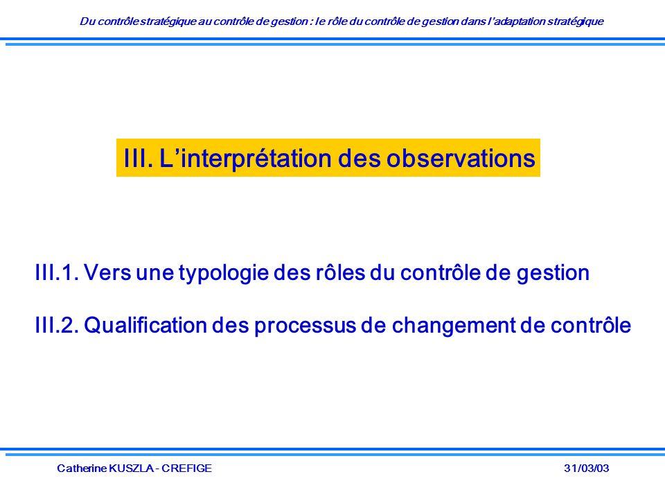 Du contrôle stratégique au contrôle de gestion : le rôle du contrôle de gestion dans ladaptation stratégique 31/03/03Catherine KUSZLA - CREFIGE III. L