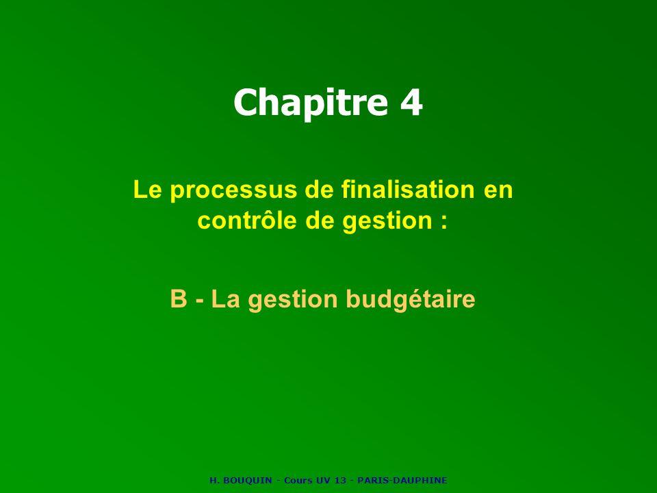 H. BOUQUIN - Cours UV 13 - PARIS-DAUPHINE Chapitre 4 Le processus de finalisation en contrôle de gestion : B - La gestion budgétaire