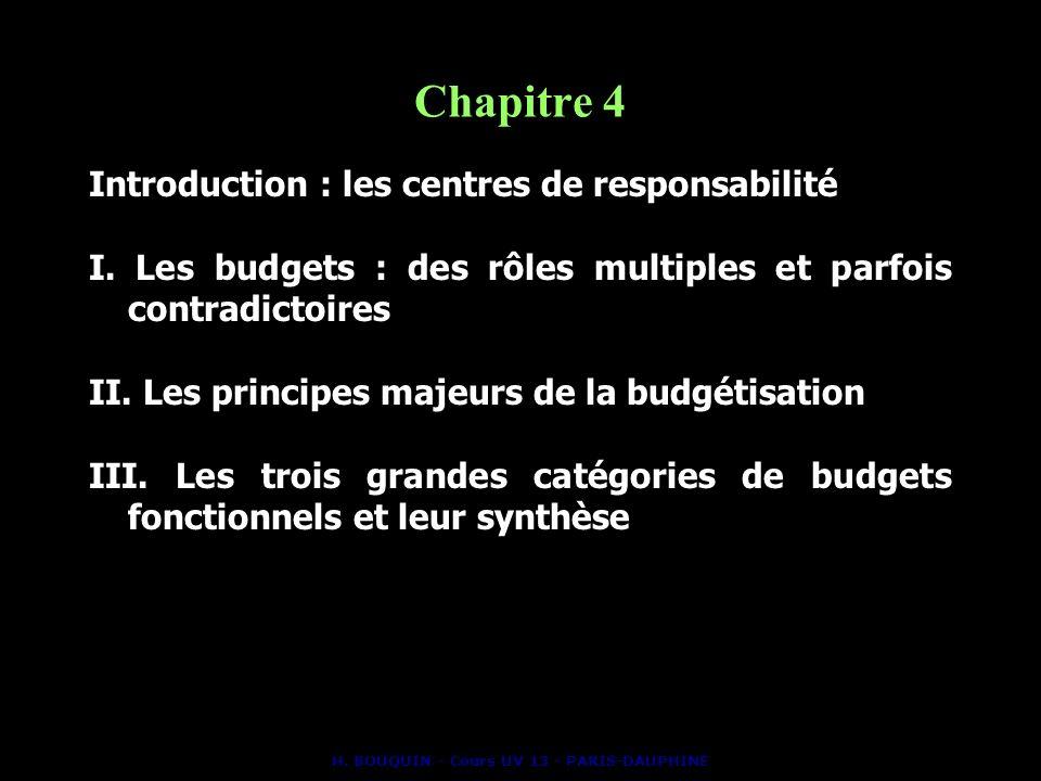 H. BOUQUIN - Cours UV 13 - PARIS-DAUPHINE Chapitre 4 Introduction : les centres de responsabilité I. Les budgets : des rôles multiples et parfois cont