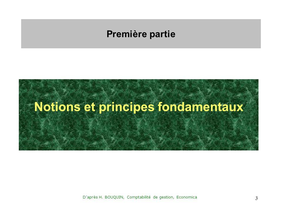 Daprès H. BOUQUIN, Comptabilité de gestion, Economica 3 Première partie Notions et principes fondamentaux