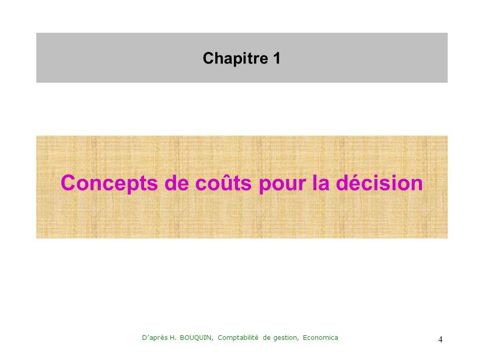 Daprès H. BOUQUIN, Comptabilité de gestion, Economica 4 Chapitre 1 Concepts de coûts pour la décision