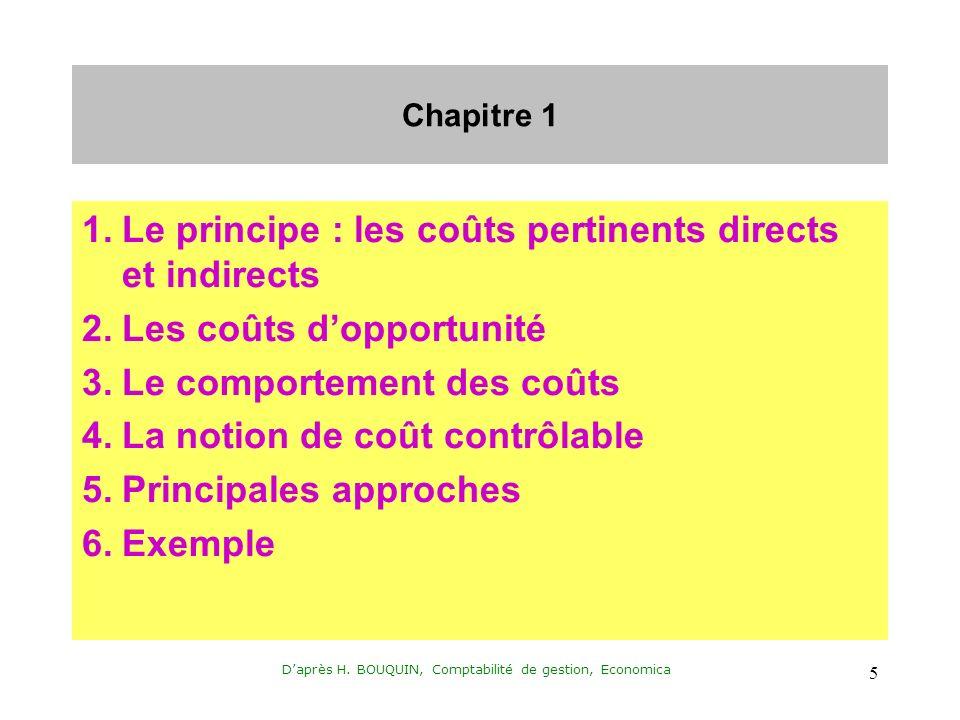 Daprès H. BOUQUIN, Comptabilité de gestion, Economica 5 Chapitre 1 1.Le principe : les coûts pertinents directs et indirects 2.Les coûts dopportunité