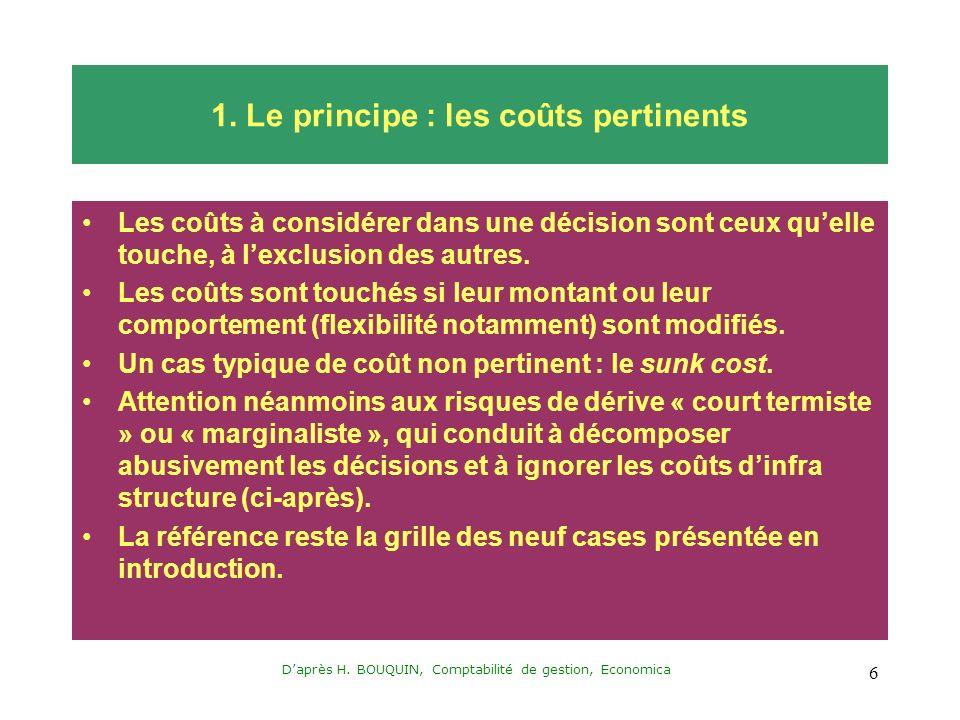 Daprès H. BOUQUIN, Comptabilité de gestion, Economica 6 1. Le principe : les coûts pertinents Les coûts à considérer dans une décision sont ceux quell