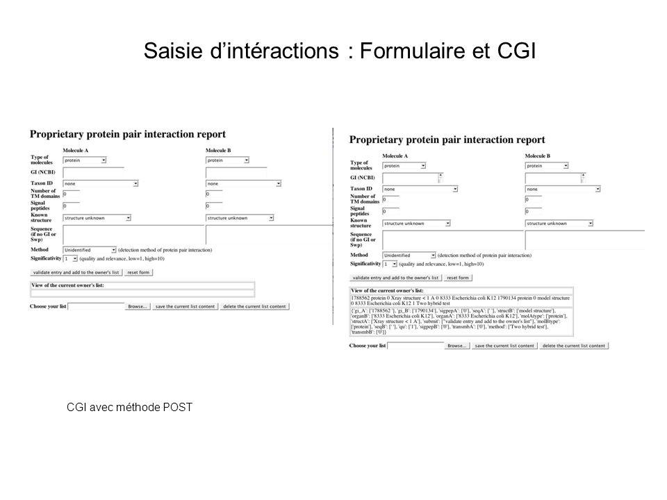 Saisie dintéractions : Formulaire et CGI CGI avec méthode POST