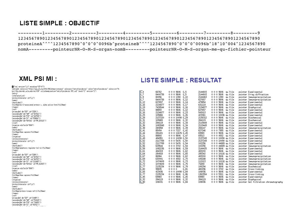 LISTE SIMPLE : OBJECTIF XML PSI MI : LISTE SIMPLE : RESULTAT