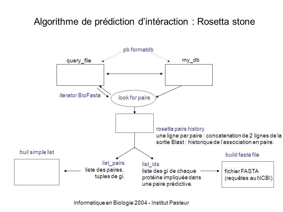 Algorithme de prédiction dintéraction : Rosetta stone query_filemy_db fonction look for pairs iterator BioFasta single_query fonction runblast : pb blastall -p blastp -e 0,001 -m 8 -d user/my_db -i single_query Q..............