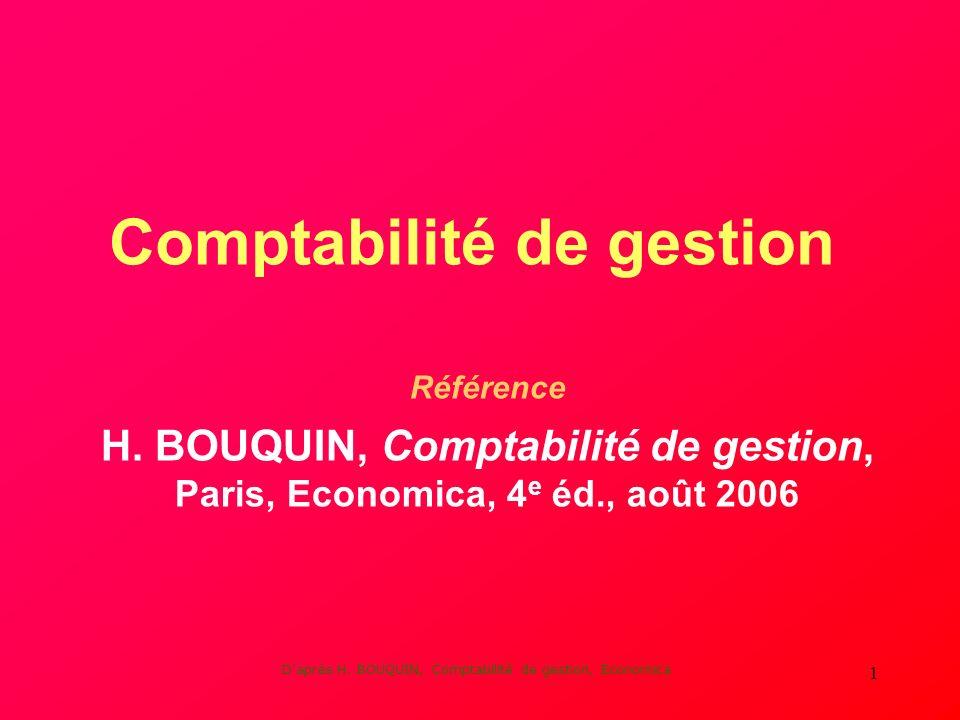Daprès H. BOUQUIN, Comptabilité de gestion, Economica 1 Comptabilité de gestion Référence H.