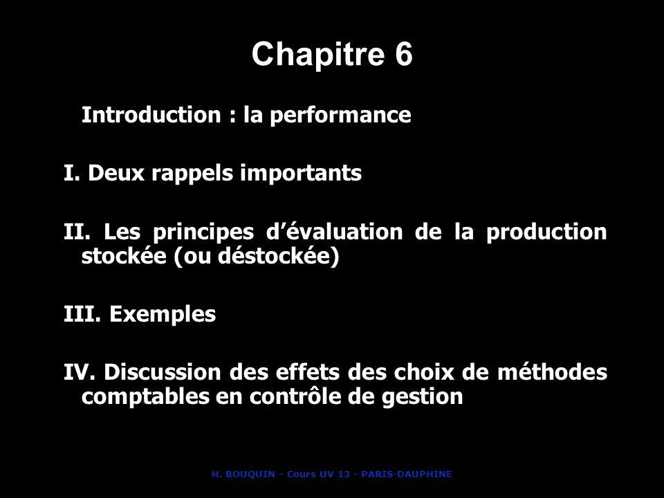 H. BOUQUIN - Cours UV 13 - PARIS-DAUPHINE Chapitre 6 Introduction : la performance I. Deux rappels importants II. Les principes dévaluation de la prod