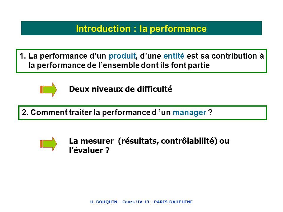 H. BOUQUIN - Cours UV 13 - PARIS-DAUPHINE Introduction : la performance 1. La performance dun produit, dune entité est sa contribution à la performanc